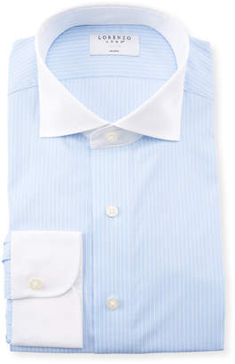 Lorenzo Uomo Men's Contrast-Collar Striped Dress Shirt