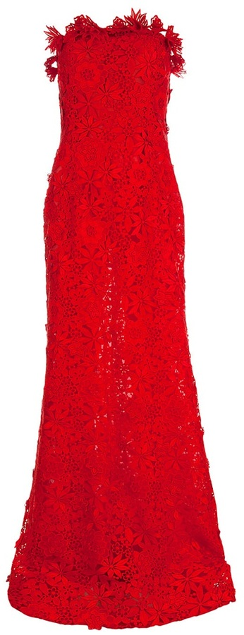 Oscar De La Renta Embroidered floral lace strapless gown