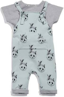 Mamas and Papas Baby Girls Panda Dungaree Outfit