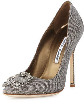 Manolo Blahnik Hangisi Crystal-Buckle Shimmery 105mm Pump, Gold $985 thestylecure.com