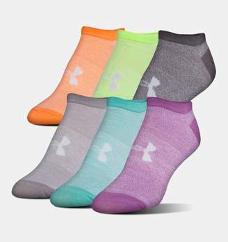 Under Armour Women's UA Big Logo No-Show Socks – 6-Pack