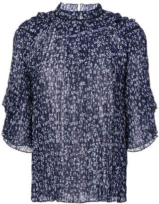 Saloni floral print ruffle blouse