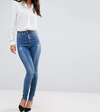 Asos Tall TALL RIDLEY High Waist Skinny Jeans With Seamed Split Front in Noelle Light Wash