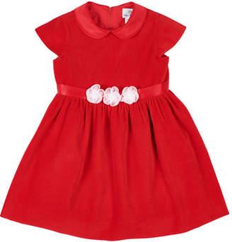 Florence Eiseman Girl's Velvet Peter Pan Collar Dress w/ Tulle Flower Belt, Size 3-24 Months