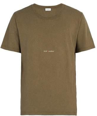 Saint Laurent Logo Print Distressed T Shirt - Mens - Khaki