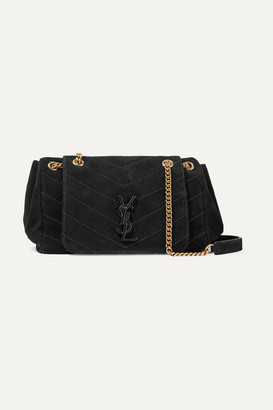 Saint Laurent Nolita Medium Quilted Suede Shoulder Bag - Black