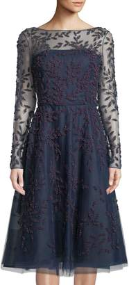 Oscar de la Renta Pearlescent-Vine Embroidered Illusion Midi Dress
