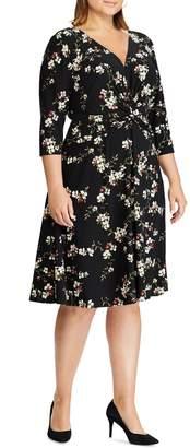 Chaps Twist-Detail Jersey Fit--Flare Dress