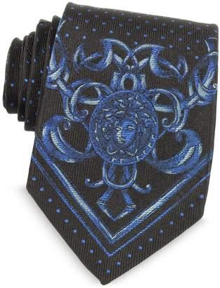 Versace Micro Polka Dots Narrow Ties w/Medusa Print