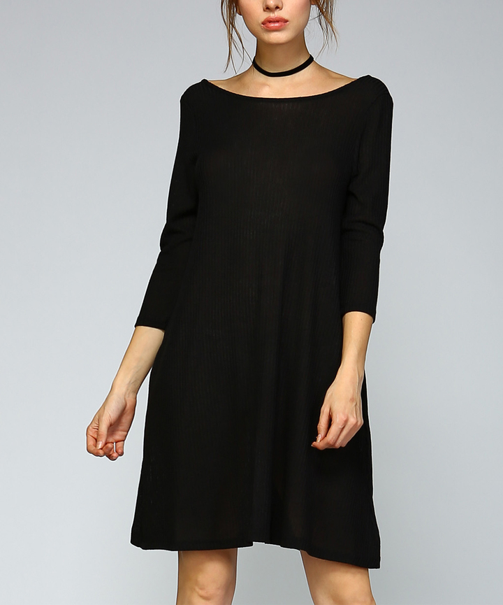 Black V-Neck Back Three-Quarter Sleeve Dress