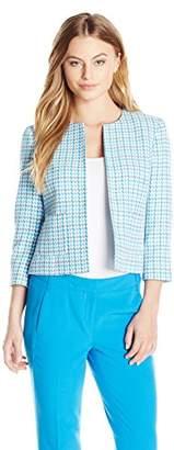 Kasper Women's Petite Size Novelty Check Jewel Neck Flyaway Jacket