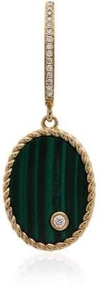 Leon Yvonne 18k gold, emerald and diamond drop singular earring
