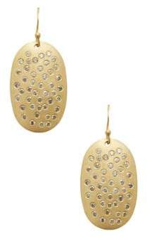 Gold & Champagne Diamond Disk Earrings