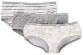 DKNY Girls 7-16) 3-Pack Logo Trim Hipster Panty