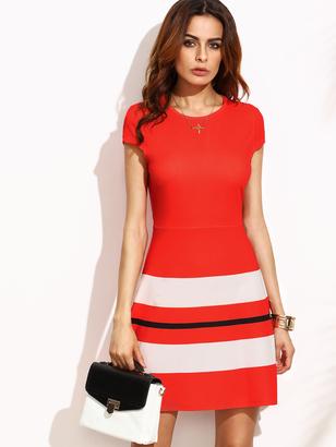 Shein Striped Print Cap Sleeve A Line Dress