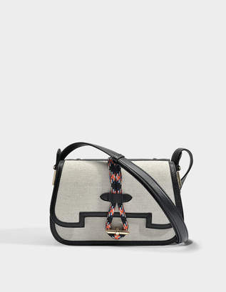 Carven Mazarine Large Bag in Black Nappa Leather and Cotton