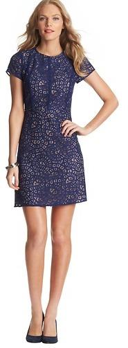 LOFT Petite Geometric Lace Short Sleeve Dress