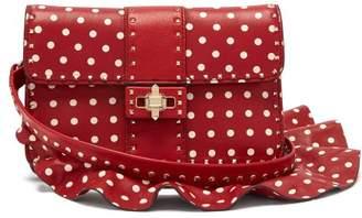 Valentino Rockstud Polka Dot Cross Body Leather Bag - Womens - Red White