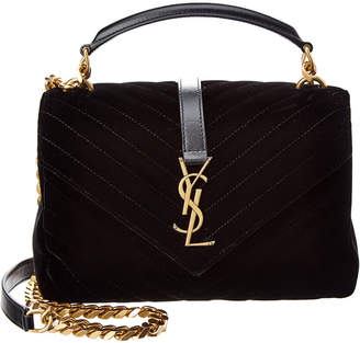 Saint Laurent College Medium Matelasse Velvet & Leather V-Flap Shoulder Bag