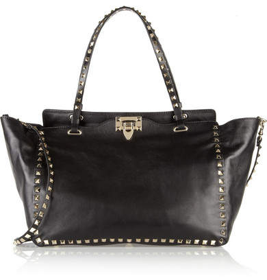 Valentino - The Rockstud Medium Leather Trapeze Bag - Black