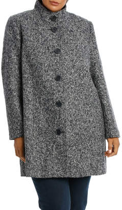 Textured Button Down Long Sleeve Coat