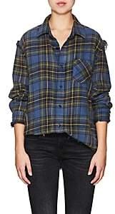R 13 Women's Plaid Shredded Cotton Flannel Shirt-Blue
