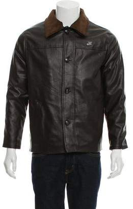 Armani Collezioni Button-Up Leather Jacket