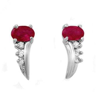 Nobrand Robin Secours 10K White Gold Ruby & Diamonds Earrings