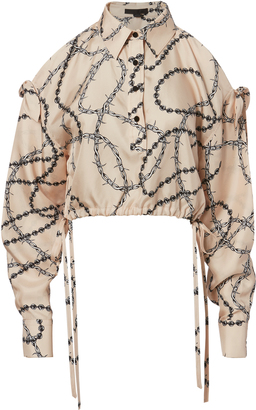 Alexander Wang Blush Print Slit Sleeve Top $545 thestylecure.com