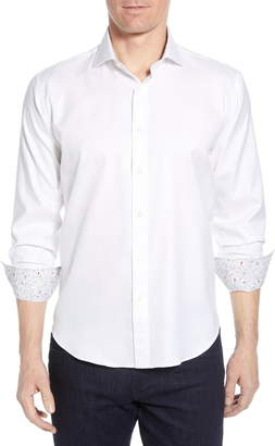 Bugatchi Shaped Fit Floral Cuff Performance Shirt