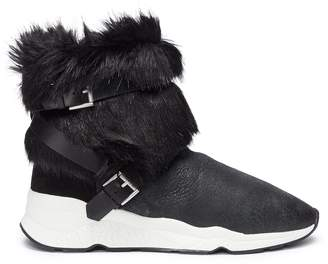 Ash 'Moloko S' belted faux fur panel leather sneaker boots