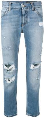 Dolce & Gabbana distressed cropped jeans