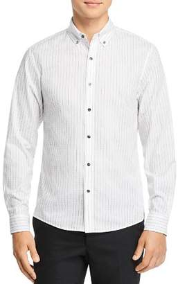 Michael Kors Dobby Top-Stitched Stripe Slim Fit Button-Down Shirt
