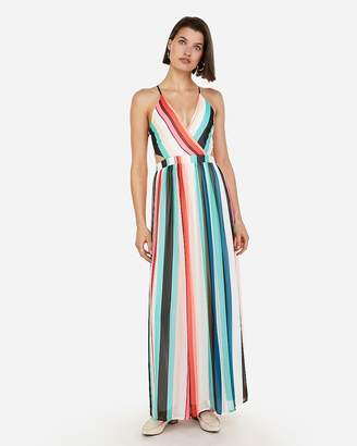 Express Striped Surplice Front Lace-Up Back Maxi Dress