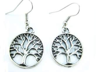 Hera Handmade Silver-Tone Antique Tree of Life Earrings