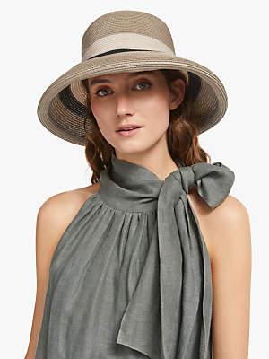 1385da5b John Lewis & Partners Colour Block Brim Summer Hat, Black Mix