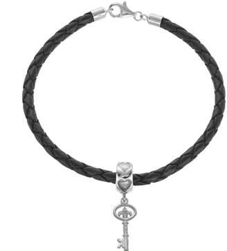 LogoArt Sterling Silver & Leather Kappa Kappa Gamma Sorority Key Bracelet