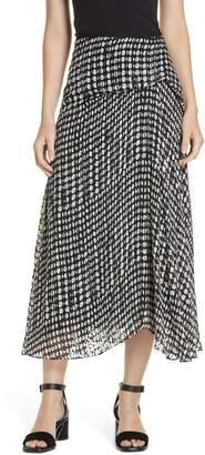 Theory Broken Oval Side Drape Midi Skirt