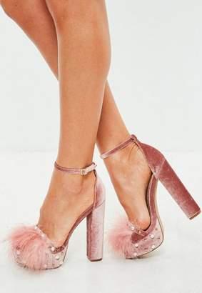 Missguided Pink Feather Trim Velvet Platforms