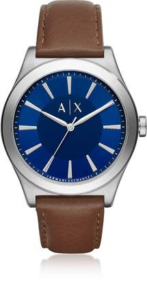 Armani Exchange Nico Blue Dial and Brown Leather Men's Watch