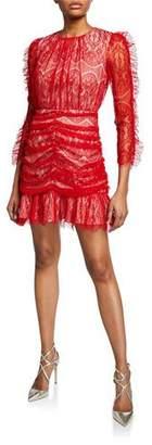 Elliatt Rose Long-Sleeve Shirred Lace Mini Dress