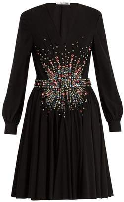 Miu Miu Plunging Embellished Silk Mini Dress - Womens - Black Multi