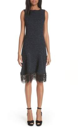 Oscar de la Renta Lace Trim Tweed Knit Dress
