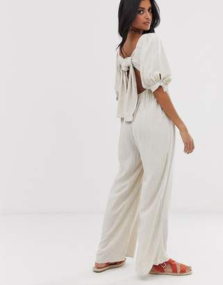 Lost Ink wide leg jumpsuit with puff sleeves linen