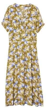 MANGO Floral wrap neckline dress
