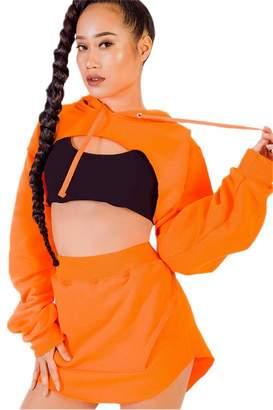 Jumojufol Womens Tracksuits Sets Crop Top Hoodie Sweatshirt Short Skirt Sports S