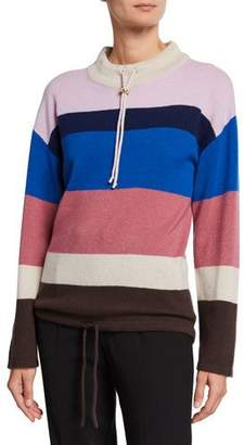 Theory Striped Mock-Neck Cashmere Pullover Sweater