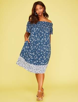 Lane Bryant Printed Smocked Off-the-Shoulder Dress