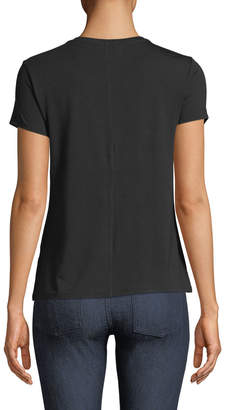 Joan Vass Crewneck Short-Sleeve Seamed-Back Tee