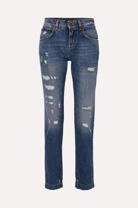 Dolce & Gabbana Appliqued Distressed Slim Boyfriend Jeans - Blue